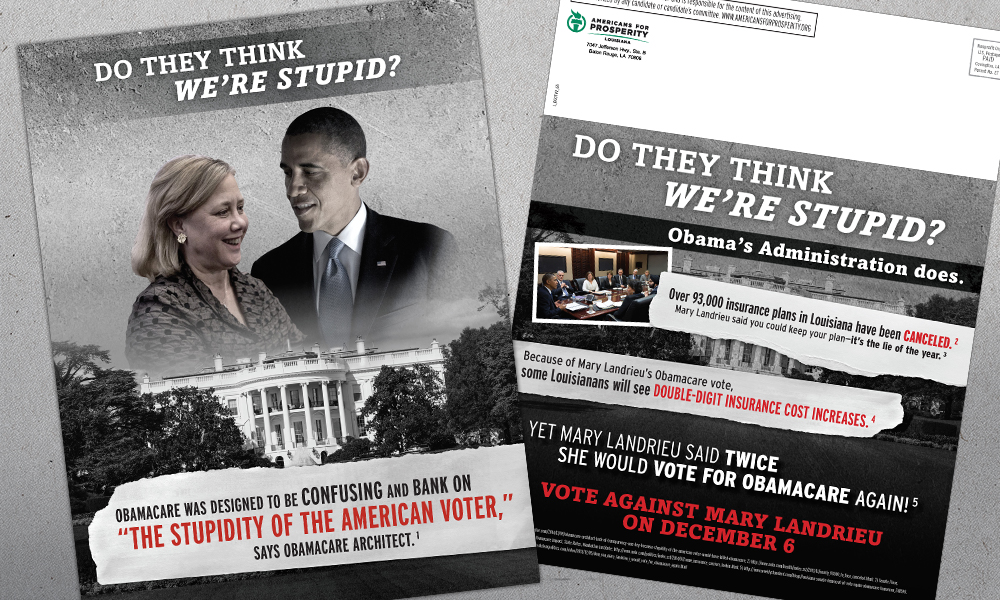 Innovative Politics designed direct mail for Americans for Prosperity-Louisiana against Mary Landrieu for Senate