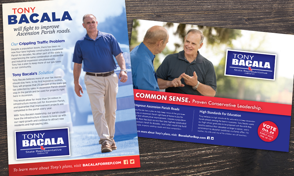 Innovative Politics designed print collateral for Tony Bacala for State Representative