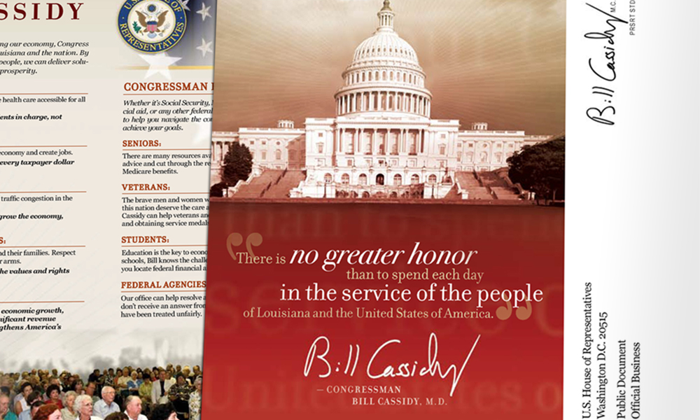 Innovative Politics designed informative mail pieces for Congressman Bill Cassidy
