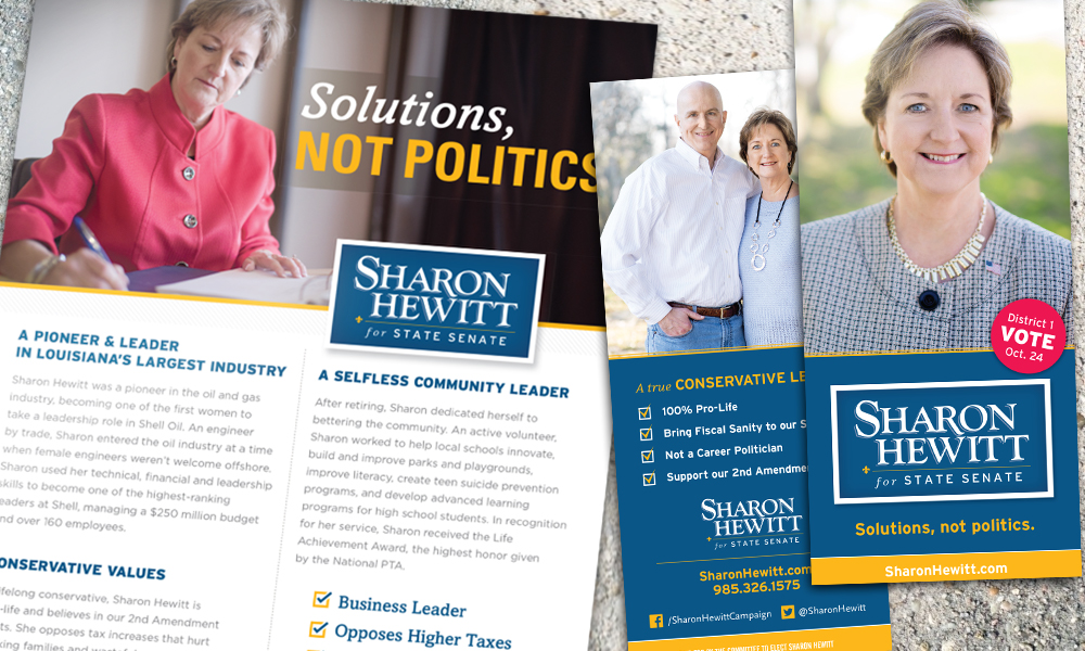Innovative Politics designed print collateral for Sharon Hewitt for State Senate campaign