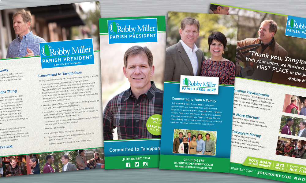 Innovative Politics designed print collateral for Robby Miller for Parish President