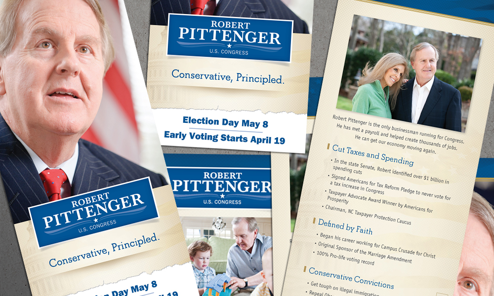 Innovative Politics designed print collateral for Robert Pittenger Congressional campaign